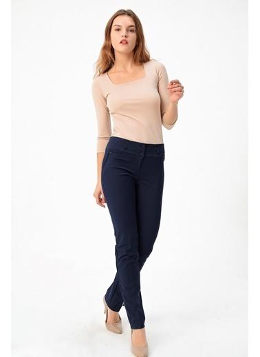 Jument Normal Bel Dar Paça Pamuklu Uzun Ofis Kumaş Pantolon-Siyah Lacivert
